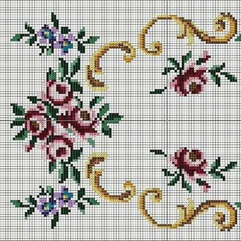 Çok şık bir Runner ya da şömentable şablonu. #crossstitch #crossstitcher #etamin #kanevice ...