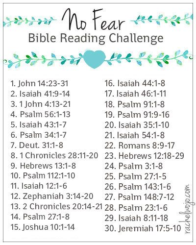 UPDATED 4/3/15 Hey friends- sorry for the typos and mistakes on the plan. They are now repaired! Thanks for grace; you are awesome!! Welcome to the No Fear Bible Reading Challenge! I have to admit, I couldn't decide exactly what to call this Bible reading challenge. Fear Not? Unafraid? I'm not sure what drove me …