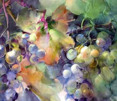 Early Morning Grapes, porcelain painting by Paula White