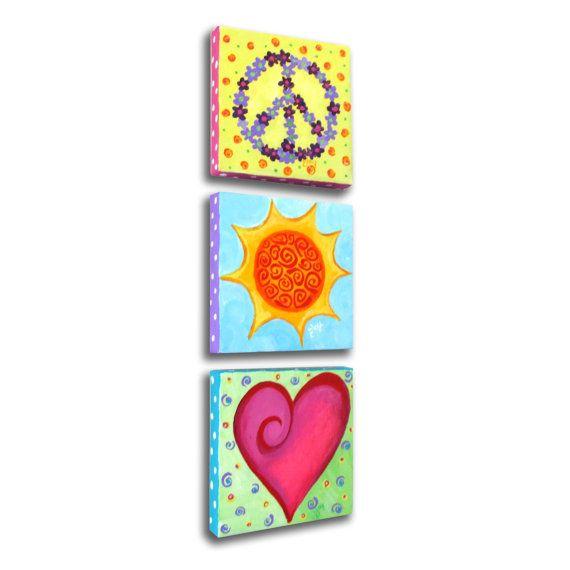 love canvas art for teen rooms | ... canvas, Original Painting, Girls Room Wall Art, Nursery Decor, art for
