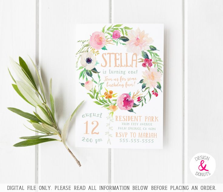 Impress your birthday guests with this unique boho birthday invite! The watercolor florals top the cake. ► High-res 300 ppi, print-lab quality designs. ► Print at home to save money, or get it printed professionally. ► Can be customized for ANY age, and wording is 100% changeable. ►