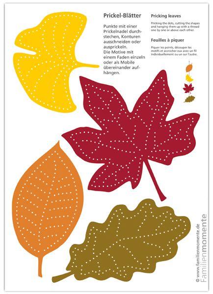 Prickel-Blätter - Bastelbogen zum Prickeln von Herbst-Blättern für ein Mobile oder eine Girlande aus Blättern