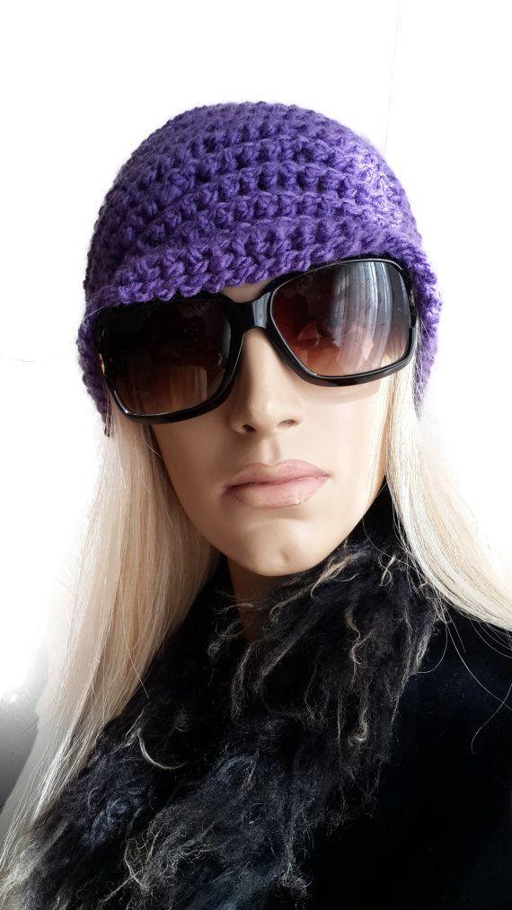 Hand Crochet Purple Reversible Beret / Violet Hat