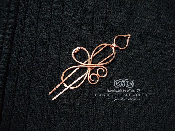 Medium Copper Hair Clip, Copper Hair Barrette, Hair Stick, Wire wraped Jewelry, Shawl brooch, Bun holder, Shawl Pin, Scarf pin, wire wrap
