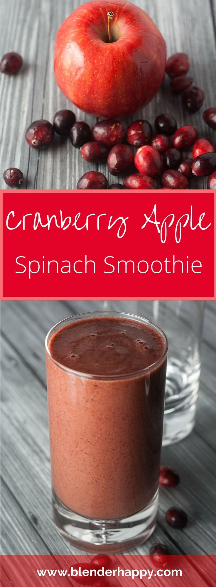 This cranberry apple spinach smoothie packs a punch - it is rich in fibre, antioxidants and immune boosting Vitamin C.