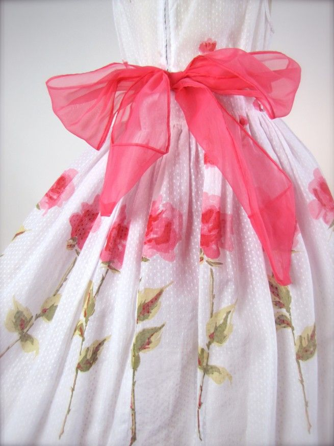 OMG! I had a dress out of the very same fabric. Mom made it! Vintage 1950's Little Girls' dress...little girls dressed up for birthday parties