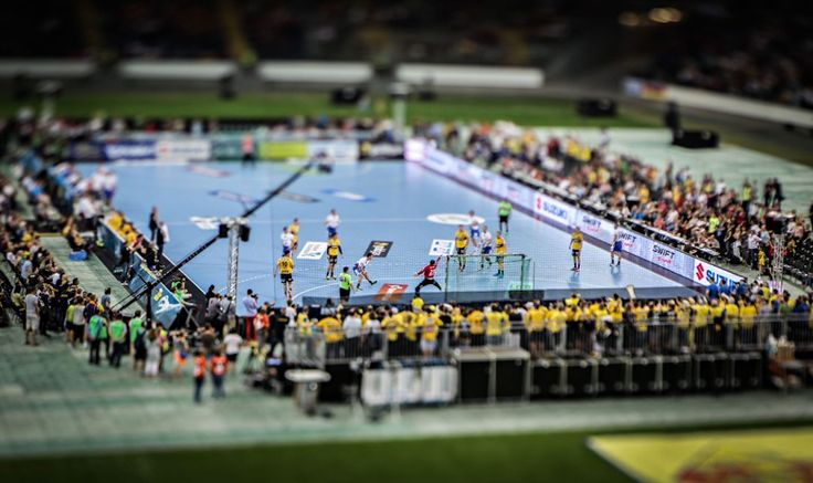 A picture taken with a tilt-shift lens shows the teams Rhein-Neckar Loewen and HSV Hamburg during the handball Bundesliga match on the 'Tag des Handballs' (translation 'day of handball') at the Commerzbank Arena in Frankfurt Frank Rumpenhorst/EPA