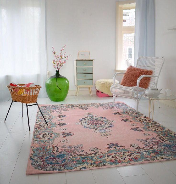 vintage look vloerkleed pastel kleuren 225cm x 155cm (70% wol, 30% polyester)