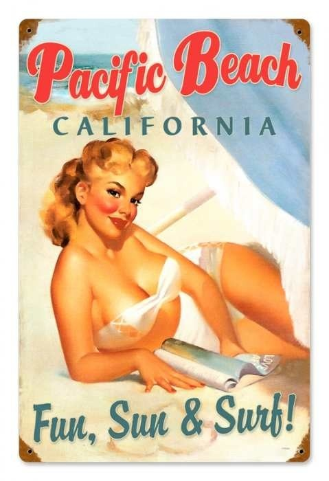 Vintage and Retro Wall Decor - JackandFriends.com - Vintage Pacific Beach Pinup  - Pin-Up Girl Metal Sign, $39.97 (http://www.jackandfriends.com/vintage-pacific-beach-pinup-metal-sign/)