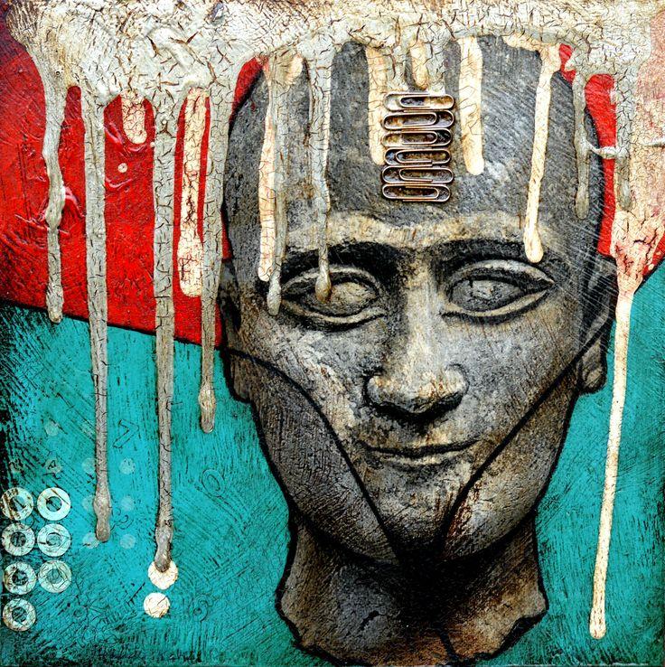 Sumerian face  mixed media on wood 2014