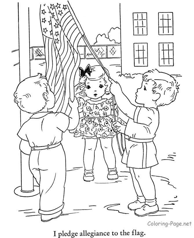raising the flag american flag coloring pages - Children Coloring Pictures