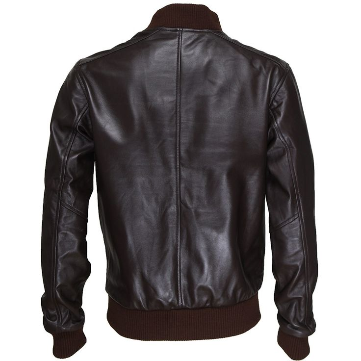 Dark Brown Varsity Bomber Lambskin Leather Jacket - Bentley | by VIPARO