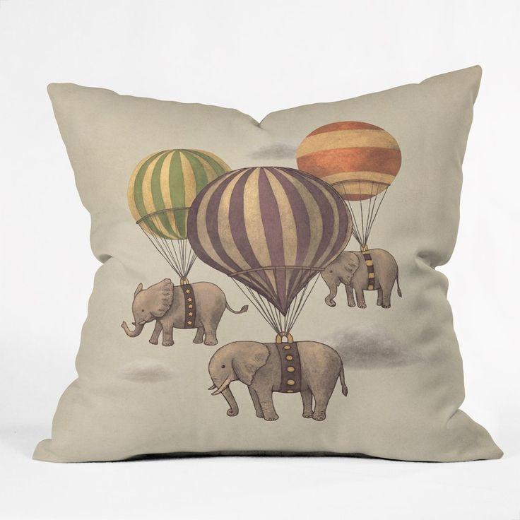 Terry Fan Flight Of The Elephants Throw Pillow | Deny Designs