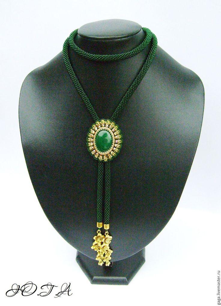 Купить Галстуки-боло с малахитом - тёмно-зелёный, зеленый, зеленое украшение, галстук, галстук-боло