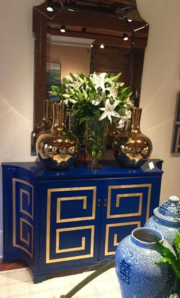 This Bold Blue Cabinet With Golden Design Will Make A Big Statement In Your Space Would Piece Fit Well Into Homes Decor Scheme