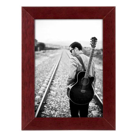 Americanflat 5x7 inch Brown Picture Frame - Displays 5x7 Inch Pictures - Made for Desktop and Wall Display