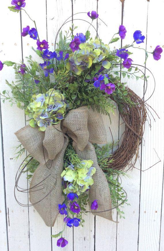 Hydrangea Wreath Double Door WreathMothers Day Wreath by Keleas