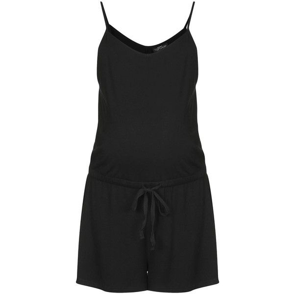 TOPSHOP MATERNITY Strappy Playsuit ($7.08) ❤ liked on Polyvore featuring maternity, playsuit and black
