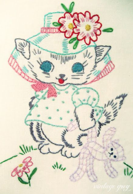 vintage grey: kitty embroidery