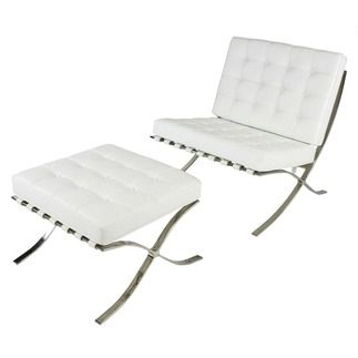 Barcelona White Leather Chair + Foot Stool   Leather Chairs