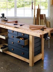 Drawers are one way of storing tools in a workbench.