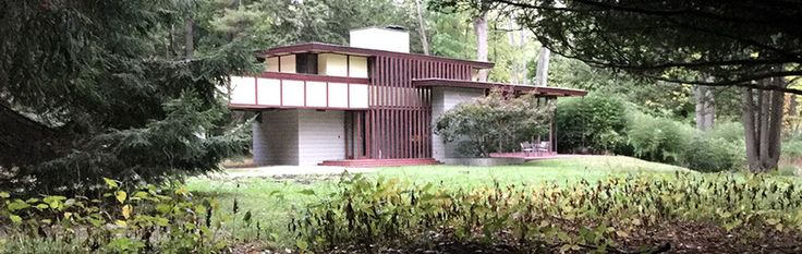 The Louis Penfield House in Willoughby Hills is the only Frank Lloyd Wright home available for overnight stays in Ohio. Set on 30 acres along the Chagrin River, the Penfield House is designed in Wright's Usonian style.