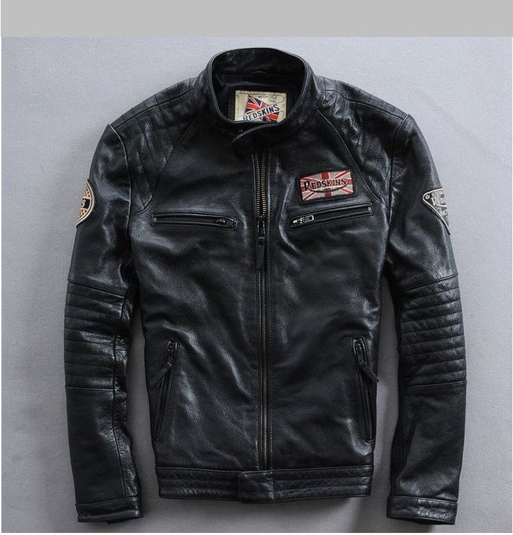 Male Genuine Cowhide Leather Short Slim Clothing Men's Motorcycle Rider Jacket #Affliction #Casual