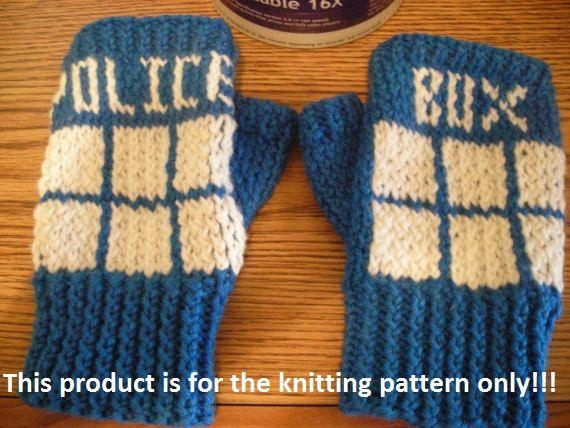 Inspiration!  = Knitting Pattern: Doctor Who Tardis Fingerless Gloves. $4.00, via Etsy.