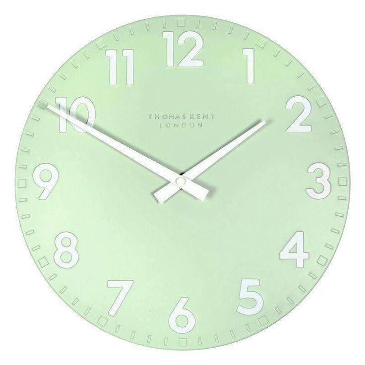 """Accent Wall Tom Kent: Thomas Kent Camden Mint Green Wall Clock (50cm/20"""")-Duck"""