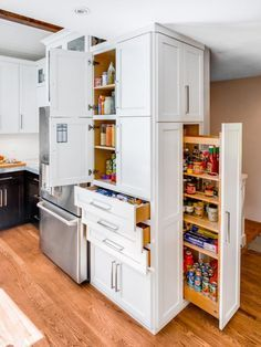 Contemporary Kitchen Storage and Pullout Pantry
