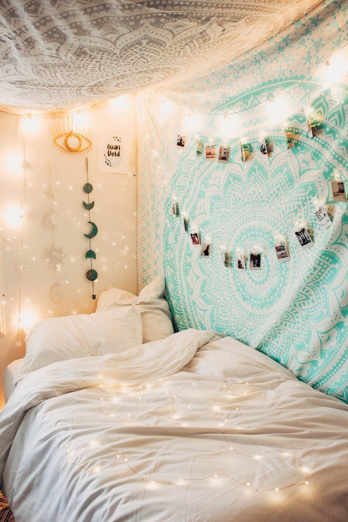 Lady Scorpio   @Ladyscorpio101 ☽☽  ladyscorpio101.com ☆ Perfect Bedroom Decor for the Hippie at heart ♡ Alexa Halladay is Boho Bungalow - Tapestry with Copper Fairy Lights! Including Moon Phase Wall Hangings! Mermaid Seafoam green/blue Ocean themed Room      Mandala Tapestry   Ladyscrpio101 #DIYHomeDecorForTeens