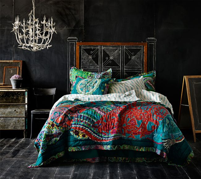 ⋴⍕ Boho Decor Bliss ⍕⋼ bright gypsy color hippie bohemian mixed pattern home decorating ideas - dark and beautiful