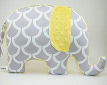 Modern gray and yellow nursery decor, Elephant Pillow, grey and yellow