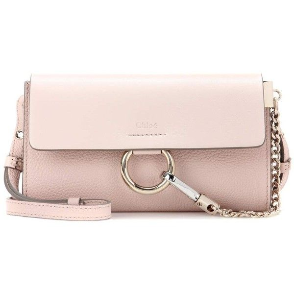 Chloé Faye Mini Leather Wallet Bag ($975) ❤ liked on Polyvore featuring bags, pink, mini bag, pink leather bag, mini leather bag, real leather bags and chloe bag