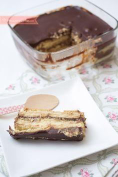 Tarta de galletas, flan y chocolate