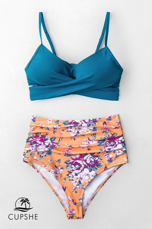 e740fb9a25 Slip into Cupshe Summer Dream Blue Wrap And Floral High-waisted Bikini. Fun  and functional swimwear at affordable prices.