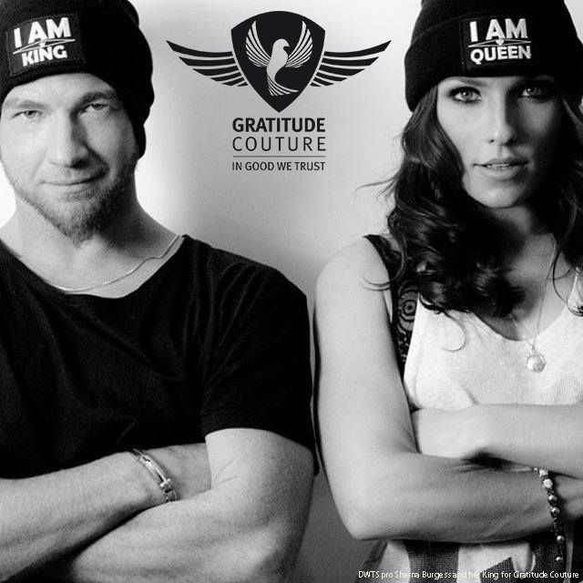 "Dancing With The Stars (DWTS) pro Sharna Burgess and Paul Kirkland rocking Gratitude Couture's anti-bullying ""I AM King"" and ""I AM Queen"" beanies in support of our brand and message."