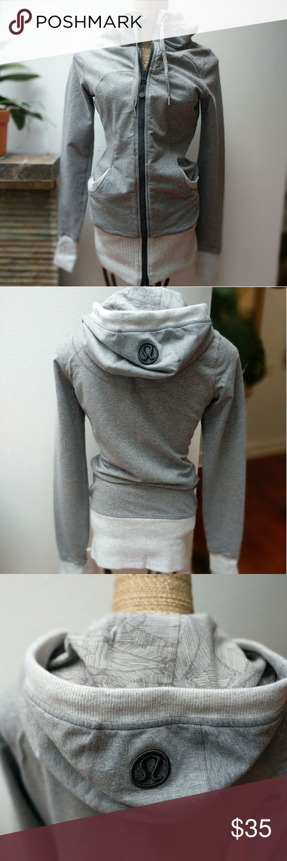 Lululemon hoodie jacket Heather gray with a lined hood. Cozy. Two way zip closure. No signs of wear, no pilling. lululemon athletica Sweaters Cardigans