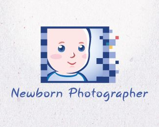 Newborn Photographer Logo design - Cute baby mascot inside a film frame. This logo is perfect for a newborn photographer or other baby photography business.<br />The film frame made from pixels. Price $350.00