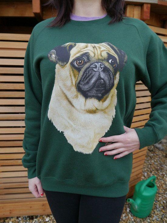 Wildlife Pug Dog jumper, Pug sweatshirt, Pug sweater, Pugs, Unisex, Dogs, Animal, Pets, New