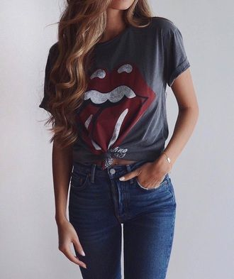 e4552a2e0f7 shirt rolling stones t shirt toungue mouth graphic tee tees t-shirt band t- shirt grey top grey and red grey tongue print tumblr tumblr girl tumblr  outfit ...