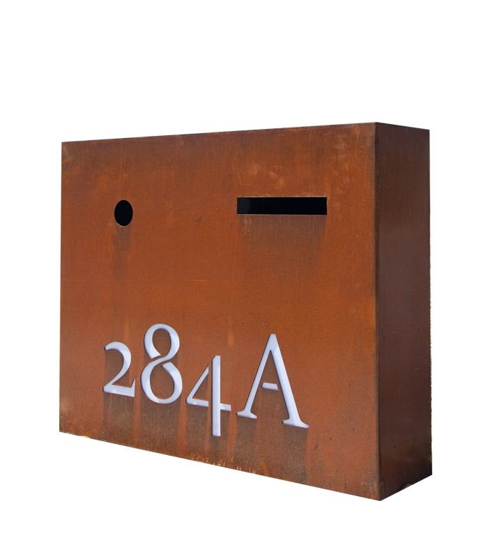 Large Lit rust letterbox by www.entanglements.com.au