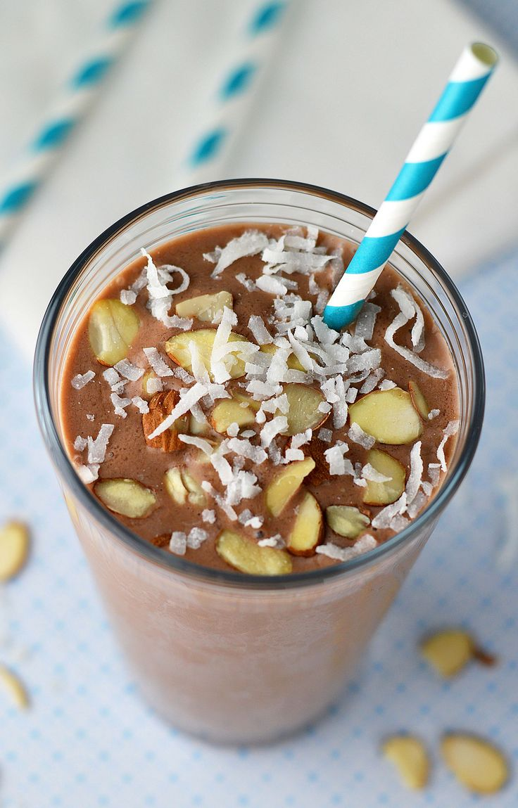 Healthy Almond Joy Milkshake A healthy version of my favorite chocolate bar. This almond joy shake is a refreshing way to stay on track!