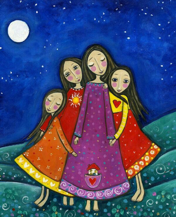 Four Sisters Sisters Art Folk Art Whimsical Art