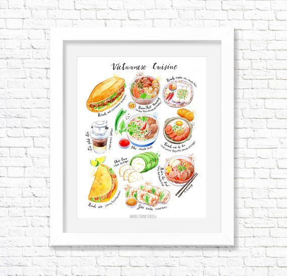 Vietnamese Cuisine Fine Art Print Kitchen Wall Art Food Etsy Watercolor Food Fine Art Prints Kitchen Wall Art