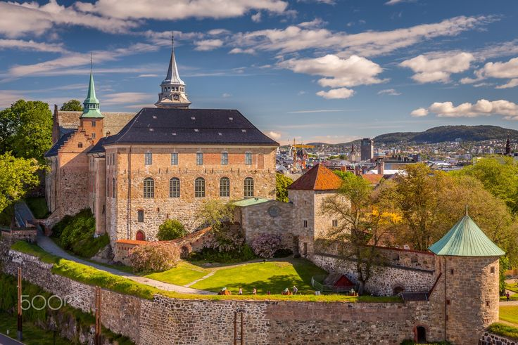 Akershus Fortress - Exposure from the seaside of the  Akershus Castle, Oslo Norway. Akershus Castle is a  medieval castle that was built to protect Oslo, the capital of Norway.  It has also been used as a prison.