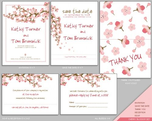 get elegant cherry blossom wedding invitations for the big day