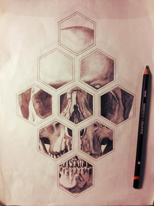 Skull tattoo ink geometric