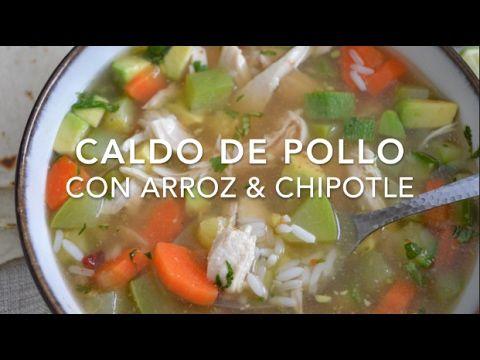 Caldo de pollo con arroz y chipotle (fácil, rápido & delicioso)