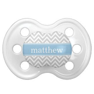 Gray and Sky Blue Chevron Monogram Pacifier